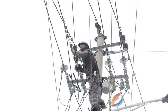 9月8日,国网福建宁德福鼎市供电公司组织人员对10千伏灰窑支线A1至A3段线路进行改造,确保线路供电稳定。(钟国欢 ).jpg