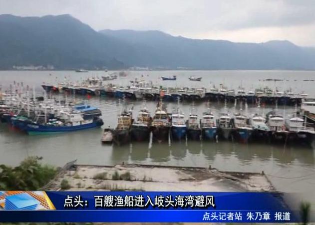 点头:百艘渔船进入岐头海湾避风