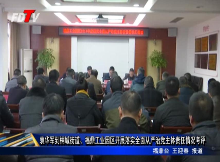 袁华军到桐城街道、福鼎工业园区开展落实全面从严治党主体责任情况考评