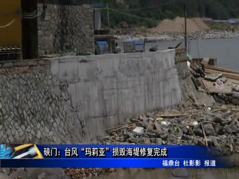 """硖门:台风""""玛莉亚""""损毁海堤修复完成"""
