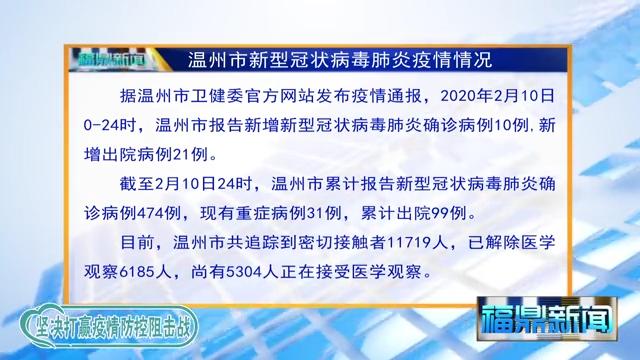 【每日疫情】2020年2月10日温州市新型冠状病毒感染的肺炎疫情通报