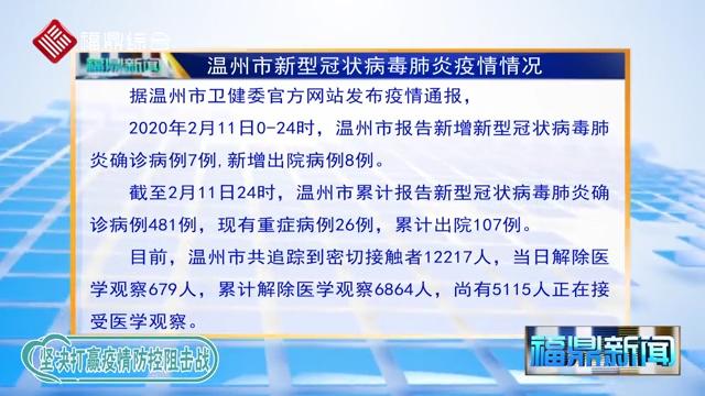 【每日疫情】2020年2月12日温州市新型冠状病毒感染的肺炎疫情通报