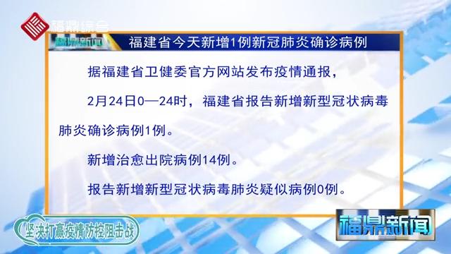 【每日疫情】福建省今天新增1例新冠肺炎确诊病例